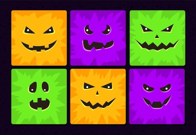 Cartoon monster gesichter gesetzt. halloween lustige und gruselige gesichter mit verschiedenen ausdrücken. kinderbuchillustrationen oder partydekorationen. quadratische avatarsammlung.