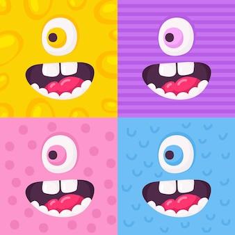Cartoon monster gesichter vektor-set. süße quadratische avatare und symbole