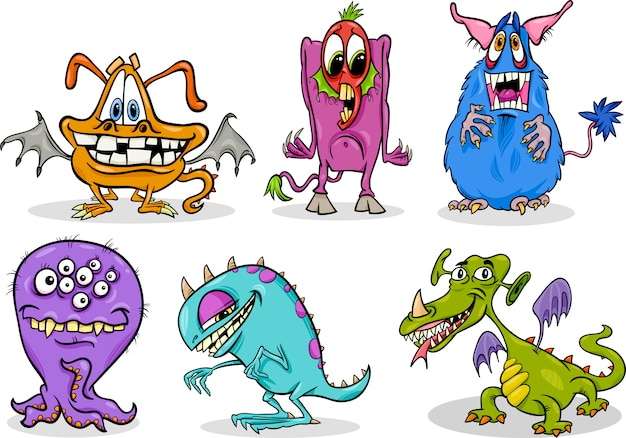 Cartoon-monster-illustration-set