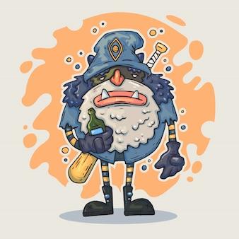 Cartoon monster mit flasche. märchenhafter charakter.