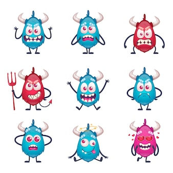 Cartoon monster set mit isolierten charakteren von doodle style monster