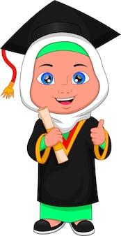 Cartoon moslemisches mädchen im abschlusskostüm