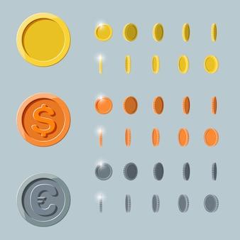 Cartoon münze rotation animation