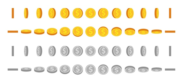 Cartoon-münzen-animations-sprites. gold- und silbermünzen werden gedreht und gedreht. runder dollar für animiertes spiel. geldsymbol im winkelansichtsvektorsatz. illustration silber- und goldmünze, drehen und drehen