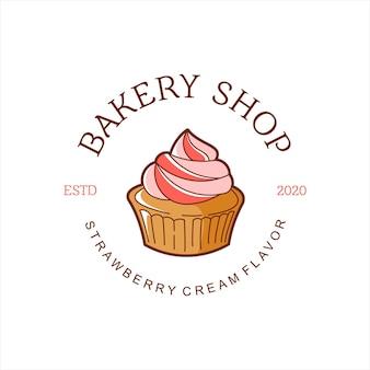 Cartoon-muffin-bäckerei-logo-abzeichen-vorlage