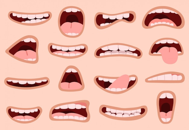 Cartoon mund. hand gezeichneter lustiger komischer mund mit zungen, lachenden gefühlskarikaturlippen, gesichtsausdruckillustrationsikonen eingestellt. cartoon mund und comic lustige figur