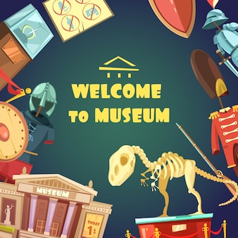 Cartoon museumseinladung
