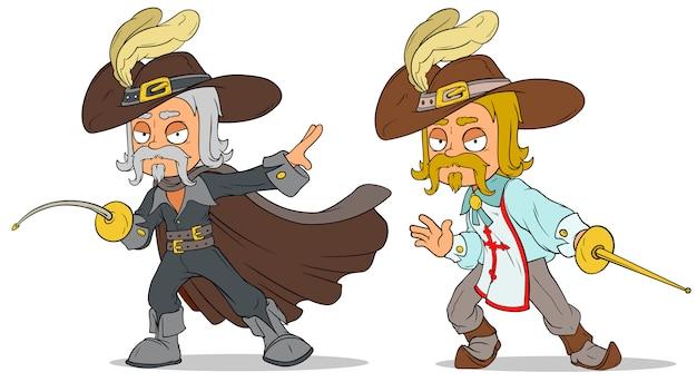 Cartoon musketier mit schwertcharakter gesetzt
