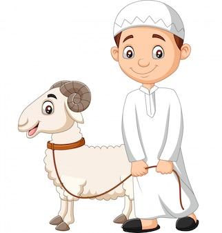 Cartoon muslimischer junge mit einer ziege