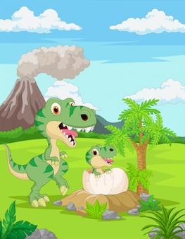 Cartoon mutter tyrannosaurus mit baby schlüpfen