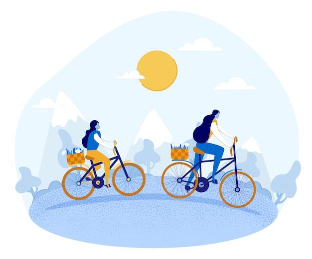 Cartoon mutter und tochter, die fahrräder auf natur reiten.