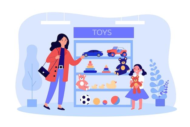 Cartoon-mutter und tochter, die spielzeug im shop auswählen. kaufende spielzeuge der frau für kleines mädchen mit flacher vektorillustration des teddybären. familie, kindheit, elternkonzept für website-design oder landing-webseite