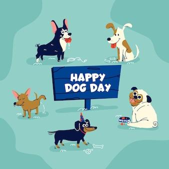 Cartoon nationaler hundetag illustration