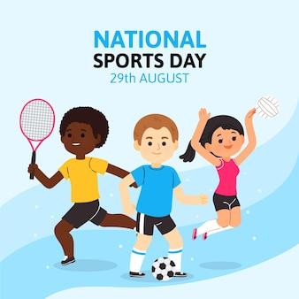 Cartoon nationaler sporttag illustration