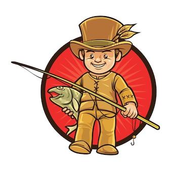 Cartoon native fishing