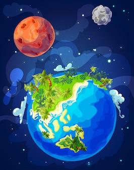 Cartoon natural earth globe vorlage