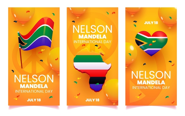 Cartoon nelson mandela international day banner set