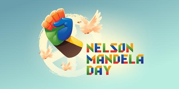 Cartoon nelson mandela international day illustration
