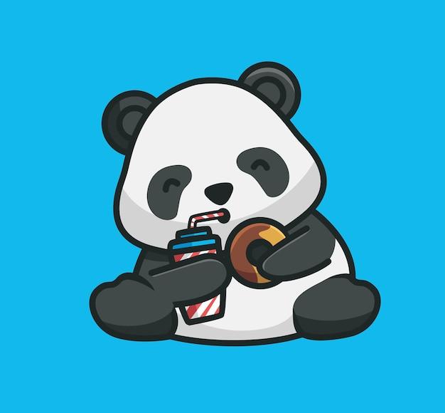 Cartoon netter panda, der einen donut mit einem getränk hält und isst. cartoon tiernahrung konzept isolierte abbildung. flacher stil geeignet für sticker icon design premium logo vektor. maskottchen-charakter