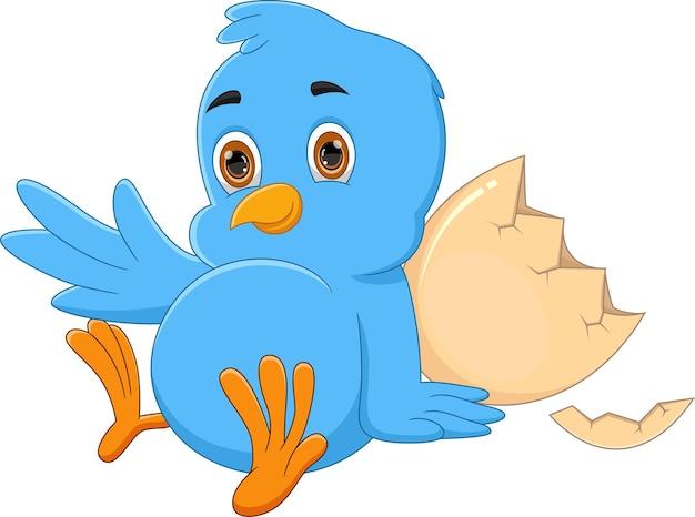 Cartoon neugeborener blauer vogel winken