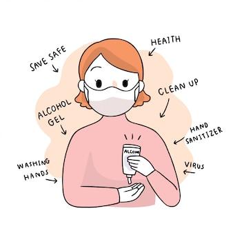 Cartoon niedlich coronavirus, covid-19, frau und alkohol gel hände waschen