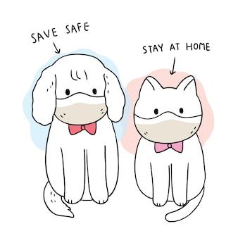 Cartoon niedlich coronavirus, covid-19, hund und katze, save safe