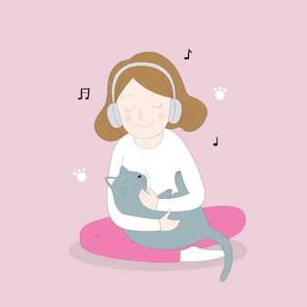 Cartoon niedlich hören musik und schwarze katze