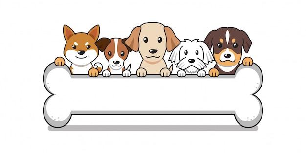 Cartoon niedliche hunde mit großem knochen