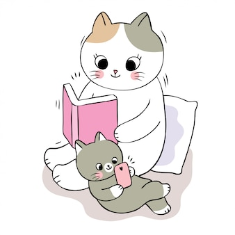 Cartoon niedliche mama katze lesebuch und baby katze spielen telefon.