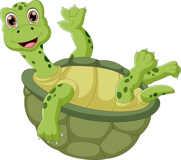 Cartoon niedliche schildkröte winkt