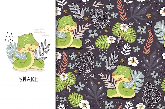 Cartoon niedliche schlange baby charakter. dschungeltierkarte und nahtloses muster. hand gezeichnetes design