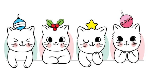 Cartoon niedliche weihnachten und guten rutsch ins neue jahr katze und dekorationsvektor