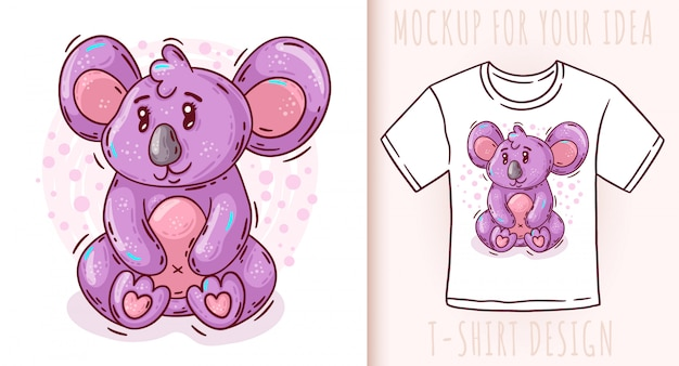 Cartoon niedlichen baby koala t-shirt design