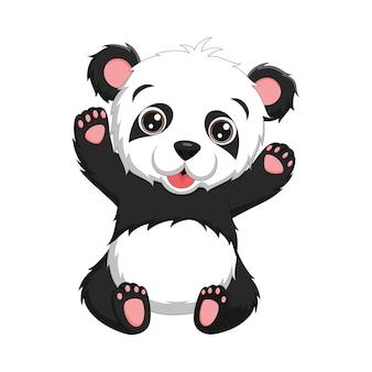 Cartoon niedlichen baby panda sitzen