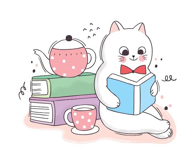 Cartoon niedlichen buchtag, katze, die bücher und kaffeetasse liest
