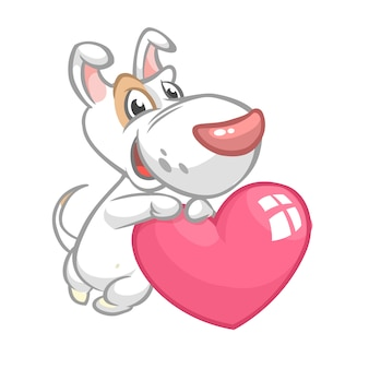 Cartoon niedlichen bullteri welpen, der eine herzliebe hält. illustration zum valentinstag.