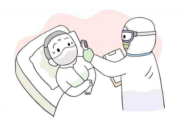Cartoon niedlichen coronavirus, covid-19, arzt und patient