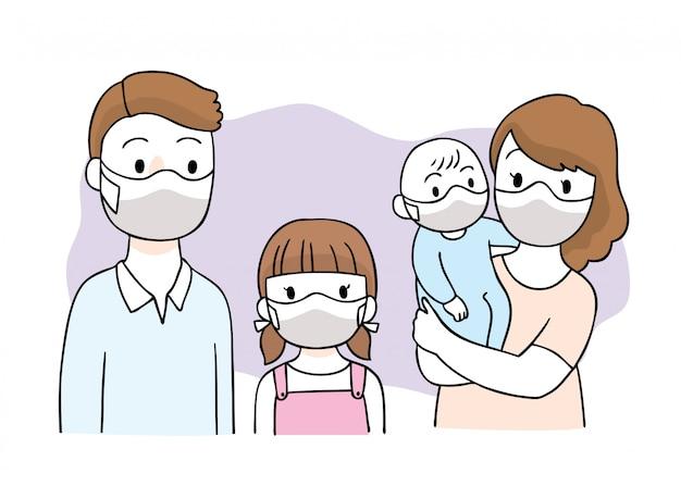 Cartoon niedlichen coronavirus, covid-19, familie und maske