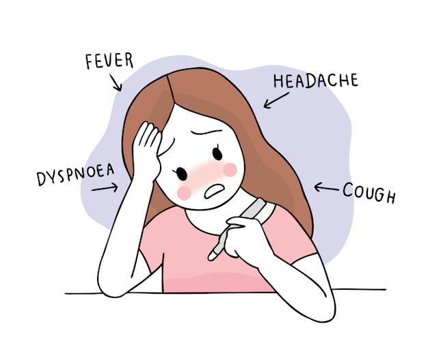 Cartoon niedlichen coronavirus, covid-19, frauenkrankheit und fieber