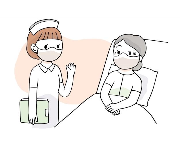 Cartoon niedlichen coronavirus, covid-19, krankenschwester und patient