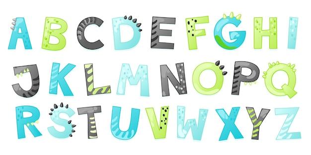 Cartoon niedlichen dinosaurier-alphabet. dino-schrift mit buchstaben. kindervektorillustration für t-shirts, karten, poster, geburtstagsfeierveranstaltungen, papierdesign, kinder- und kinderzimmerdesign