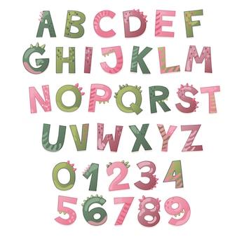 Cartoon niedlichen dinosaurier-alphabet. dino-schrift mit buchstaben und zahlen. kindervektorillustration für t-shirts, karten, poster, geburtstagsfeierveranstaltungen, papierdesign, kinder- und kinderzimmerdesign