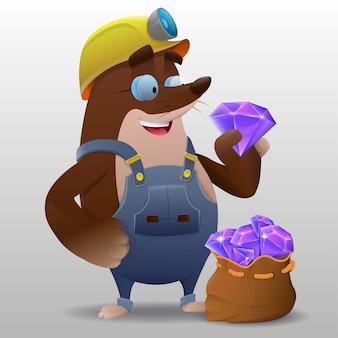 Cartoon niedlichen maulwurf bergmann mit kristallen für spielillustration