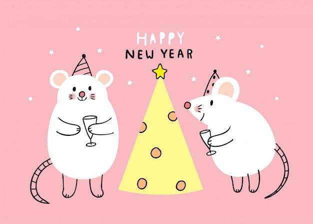 Cartoon niedlichen neujahr mouses feier.