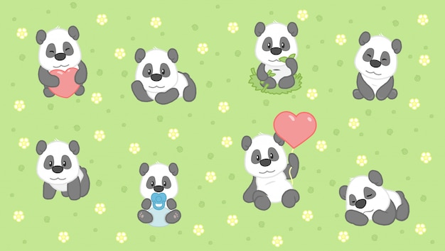 Cartoon niedlichen panda-set
