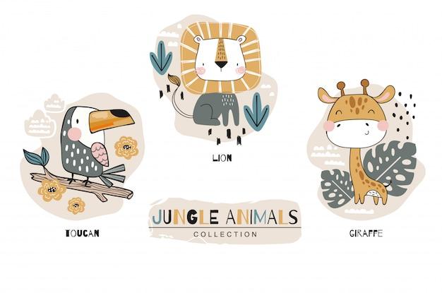 Cartoon niedlichen tierbabys charakter sammlung. dschungel gesetzt. symbol hand gezeichnete design-illustration