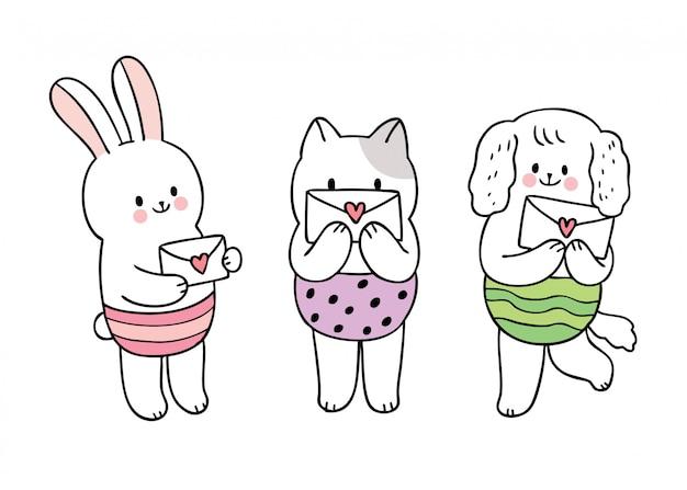Cartoon niedlichen valentinstag katze und kaninchen und hund und liebesbrief vektor.
