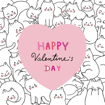 Cartoon niedlichen valentinstag weiße katzen und großes herz.