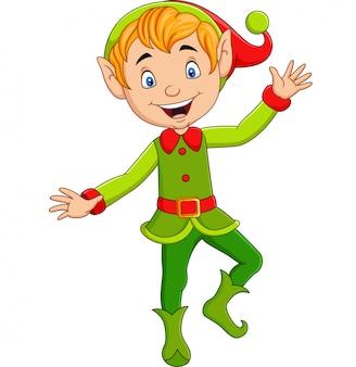 Cartoon niedlichen weihnachtselfen präsentieren