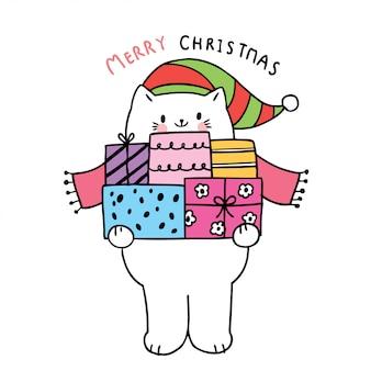 Cartoon niedlichen weihnachtskatzen und geschenke
